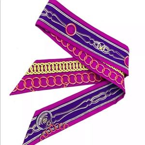Hermes Twilly 100% Silk Maillons Twilly Fuchsia